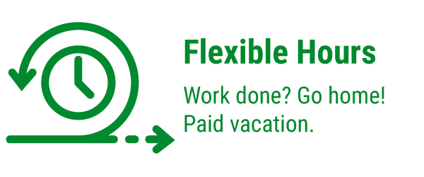 Flexible Hours – Work done? Go home! Paid vacation.
